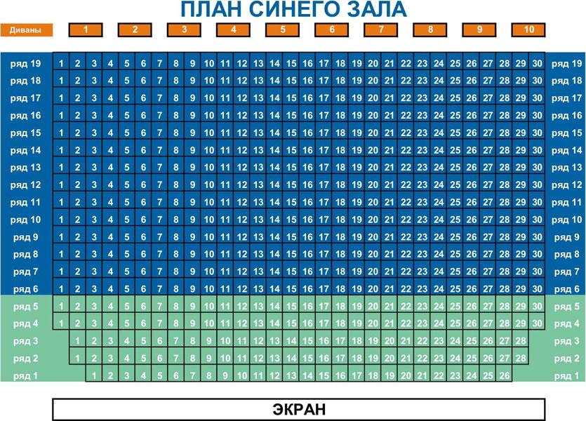 Схемы залов кинотеатра Познань
